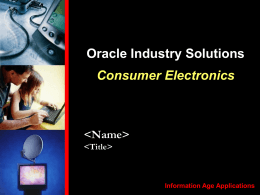 Consumer Electronics Industry Story
