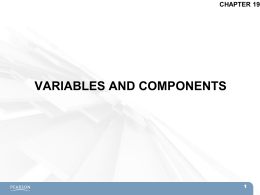 VARIABLES AND COMPONENTS