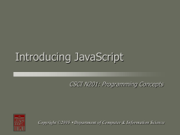 Introducing JavaScript