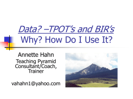 Teaching Pyramid Observation Tool (TPOT) Why and …