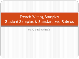 French Writing Samples
