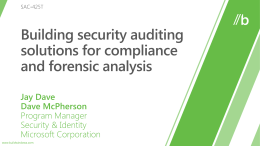 SAC-425T: Building security auditing solutions for