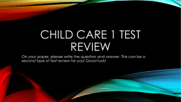 Child Care 1 Test Review