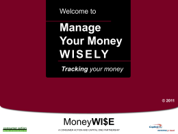 Manage Your Money Wisely - Powerpoint Training Slides