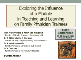 Exploring the Influence of a Module in Teaching and