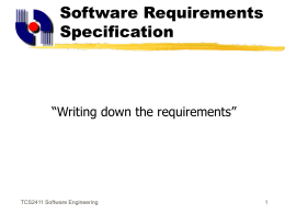 TCS 2411 Software Engineering