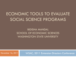 Economic tools to evaluate social science programs …