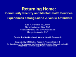 Returning Home Community Reentry and Mental Health