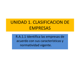 UNIDAD 1. CLASIFICACION DE EMPRESAS