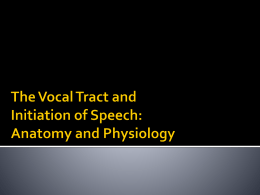 The Vocal Tract and Initiation of Speech: Anatomy and
