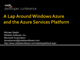 A Lap Around Windows Azure and the Azure Services