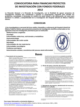CONVOCATORIA PARA FINANCIAR PROYECTOS DE …
