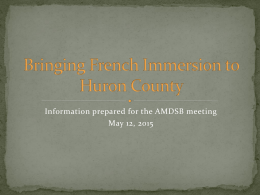 Bringing French Immersion to Huron County