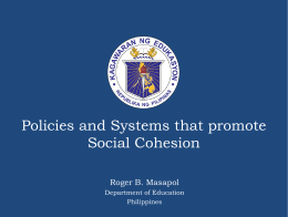 Policies and Systems that promote Social Cohesion