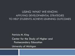 Using What We Know: Applying Developmental Strategies …