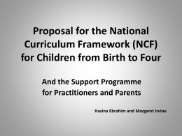 Proposal for the National Curriculum Framework for
