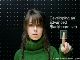 Developing an advanced Blackboard site