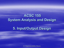 System Analysis and Design SUBJECT CODE: ACSC 155