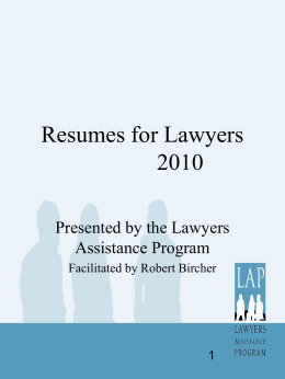 Resumes and Cover Letters for Lawyers