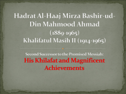 Hazrat Al-Haaj Mirza Bashir-ud
