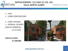 MATIAS ROMERO 121 CASA 14, COL. DEL VALLE, BENITO …