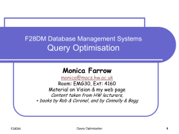 F23AF1: DATABASE Query Execution