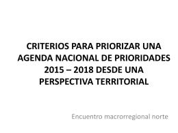 CRITERIOS PARA PRIORIZAR UNA AGENDA NACIONAL DE