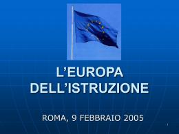 L'EUROPA DELL'ISTRUZIONE
