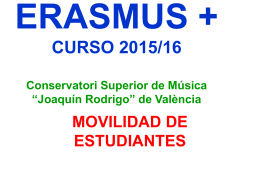 ERASMUS + ACADEMIC YEAR 2014/15