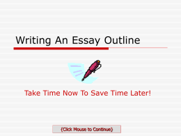 Writing An Essay Outline - cbhsls