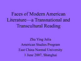 Faces of Modern American Literature—a Transnational and