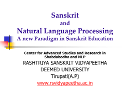SANSKRIT and COMPUTERS