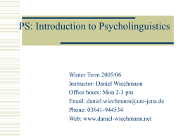 PS: Introduction to Psycholinguistics - db