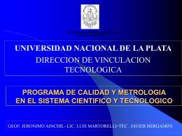 PROGRAMA DE CALIDAD Y METROLOGIA EN EL SISTEMA …
