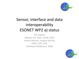 Sensor, interface and data interoperability ESONET WP2 a