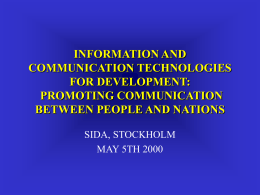 INFORMATION AND COMMUNICATION TECHNOLOGIES …