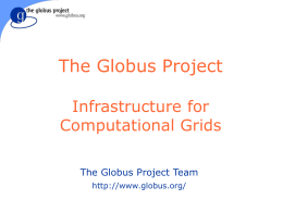The Globus Project: Infrastructure for Computational Grids