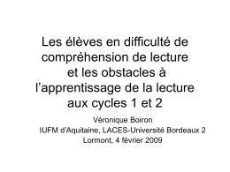 Le langage aux cycles 1 et 2
