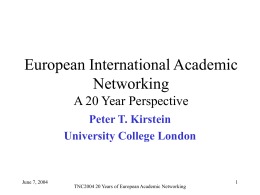 30 Years of Academic Netgworks