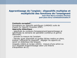 Apprentissage de l'anglais : dispositifs multiples et