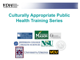 Culturally Appropriate Public Health Training Series