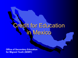 Secondary School Credit for Education in Mexico