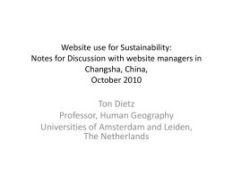 Website use for Sustainability: Notes for Discussion with