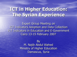 Quality Assurance in Syrian Higher Education: Current