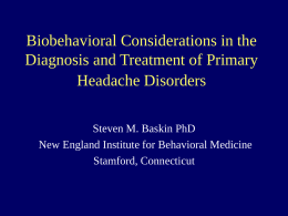 Biobehavioral Considerations in the Diagnosis and
