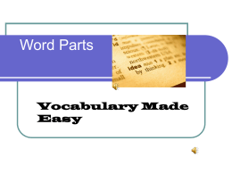 Word Parts - Fort Bend ISD