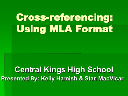 Using MLA Format - Nova Scotia Department of Education