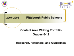 2007-2008 Secondary Writing Portfolio Pittsburgh Public