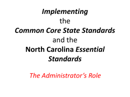 Implementing the Common Core and Essential Standards
