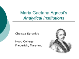 Maria Gaetana Agnesi's Analytical Institutions